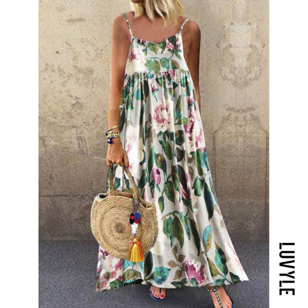White Spaghetti Strap Floral Printed Maxi Dress White Spaghetti Strap Floral Printed Maxi Dress
