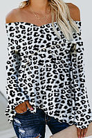 Off Shoulder  Leopard  Blouses