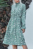 Round Neck Decortive Buttons Long Sleeve Floral Maxi Dress
