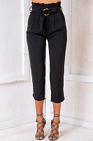 Basic Ruched  Belt  Plain Pants