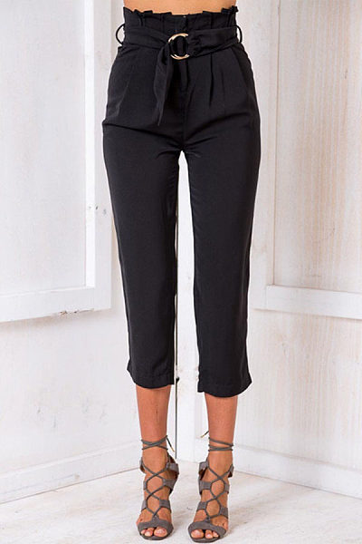 Basic Ruched  Belt  Plain Pants