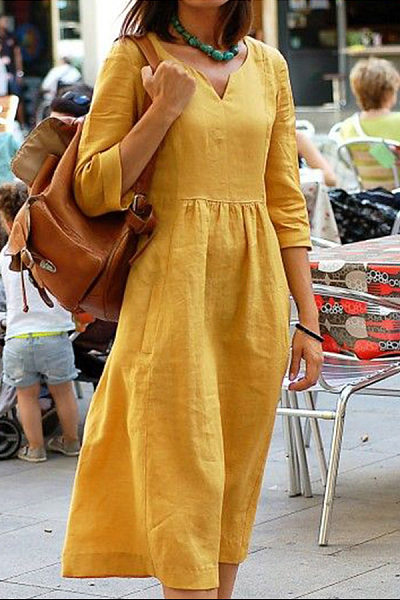 Asymmetric Neck Three-Quarter Sleeve Plain Maxi Dresses