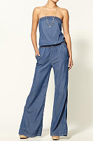 Tube Thin Jeans Denim Overalls