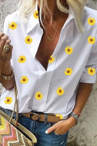 Daisy Printed Long Sleeve Blouse