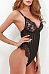 Spaghetti Strap  See Through  Lace Plain Striped Teddy