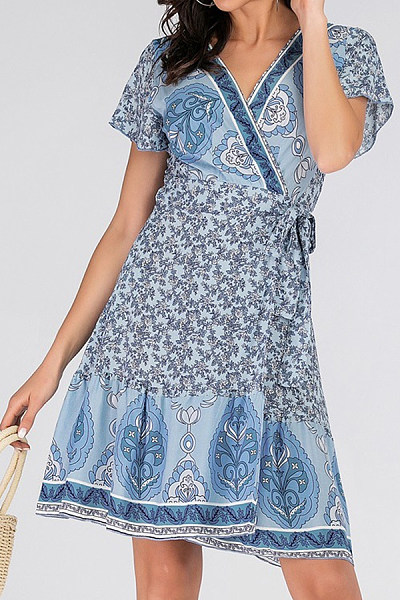 V Neck  Printed  Short Sleeve Skater Dresses
