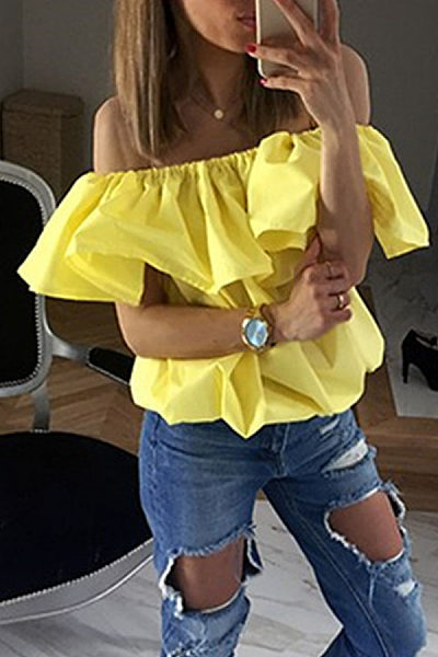 Off Shoulder  Flounce  Plain T-Shirts