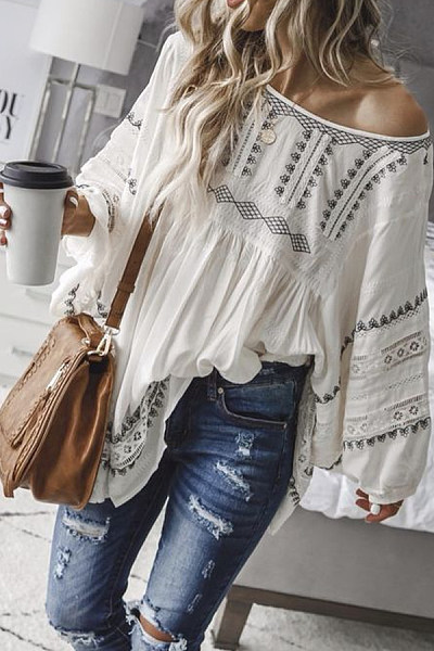 Casual Off-The-Shoulder Bohemian Print Long-Sleeved Top
