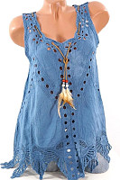 Round Neck  Asymmetric Hem  Embroidery Blouses