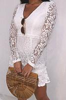 V Neck  Patchwork  Lace  Long Sleeve Skater Dresses