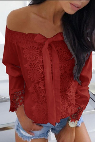Open Shoulder  Bow  Lace T-Shirts