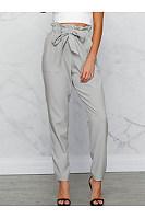 Plain Belt Patch Pocket High-Rise Slim-Leg Casual Pants