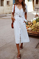 V Neck  Single Breasted  Belt  Short Sleeve Maxi Dresses