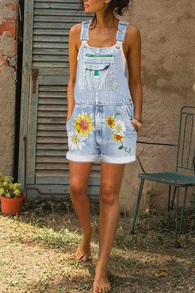 Casual Floral Print Denim Shorts Jumpsuits
