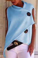 Commuting Irregular Sleeveless Splicing Single-Breasted Loose Tops