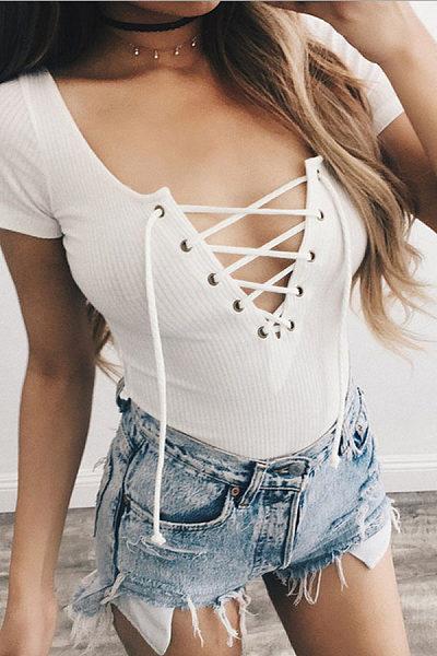 V Neck  Lace Up  Plain Bodysuits