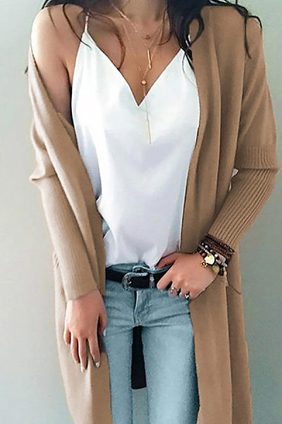 Casual Long Sleeve Pure Colour Cardigans