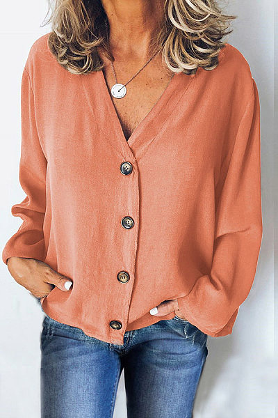 Pure Color V Collar Single Buckle Loose Long Sleeved T-Shirt