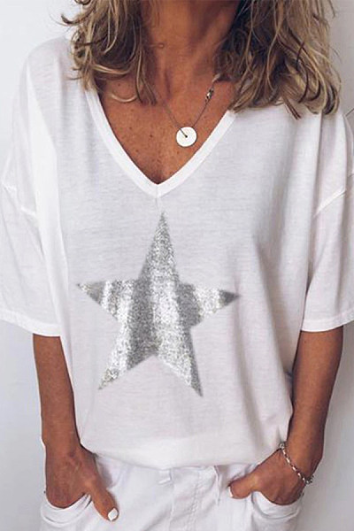 V-Neck Star Printed Short-Sleeved T-Shirt