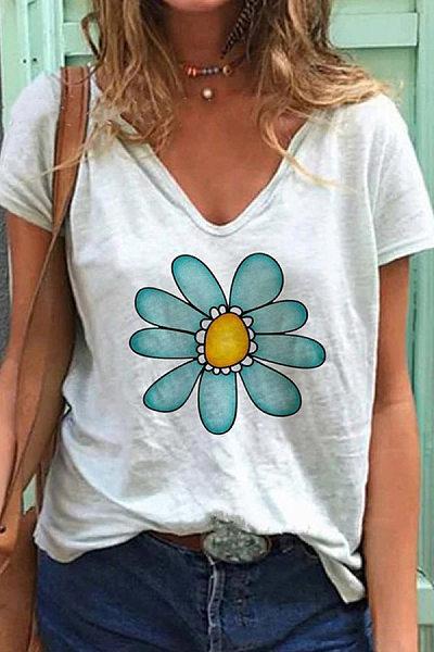 Flower V Neck Casual T-shirt