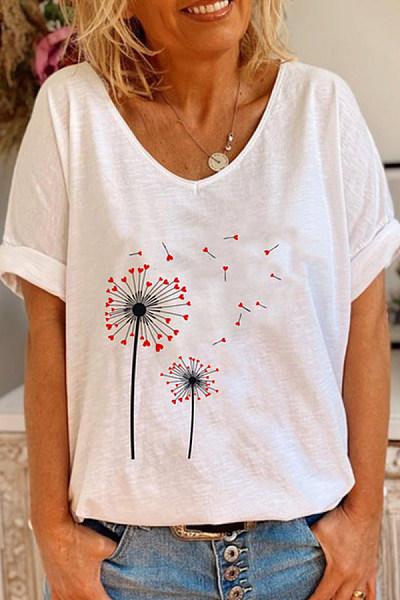 Dandelion V Neck Loose T-shirt