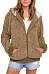 Hooded  Zipper  Plain  Teddy Outerwear