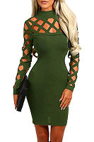 High Neck Hollow Out Bodycon Dress