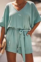 V Neck  Loose Fitting  Plain  Short Sleeve  Basic  Playsuits