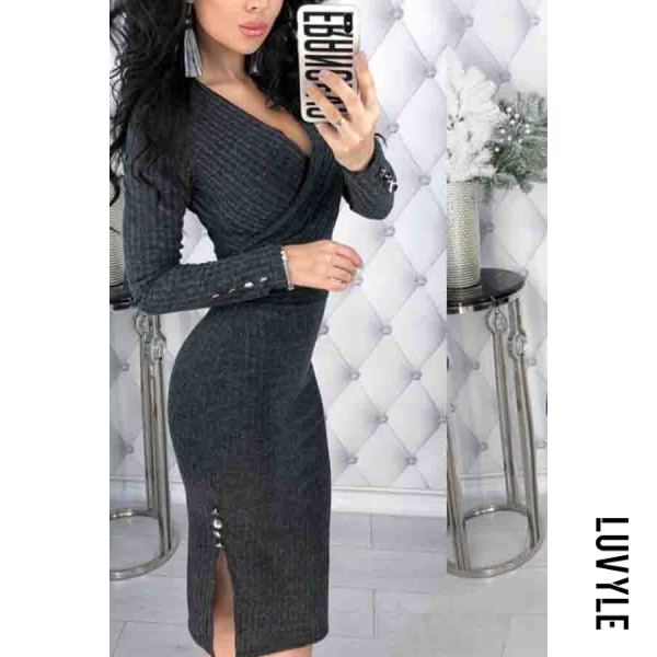 Gray V Neck Plain Long Sleeve Bodycon Dresses Gray V Neck Plain Long Sleeve Bodycon Dresses