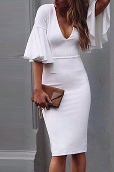 Deep V Neck  Plain  Short Sleeve Bodycon Dresses