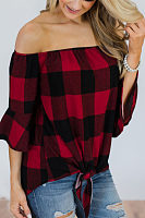 Off Shoulder  Gingham  Blouses