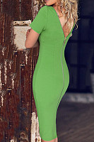 Round Neck  Zipper  Plain  Short Sleeve Bodycon Dresses