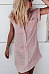 Turn Down Collar  Patch Pocket Single Breasted  Plain Casual Dresses
