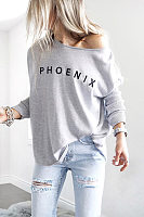 Women's Round Neck Long Sleeve Letters T-shirt