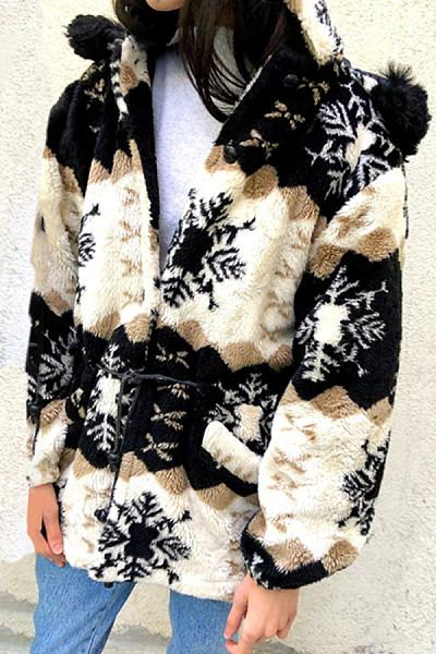 Leisure Long Sleeve Splicing Printed Hooded Overcoat