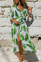 A Lapel Floral Long Sleeve Maxi Dress