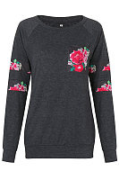 Floral Printed Patch Pocket Raglan Sleeve T-Shirt