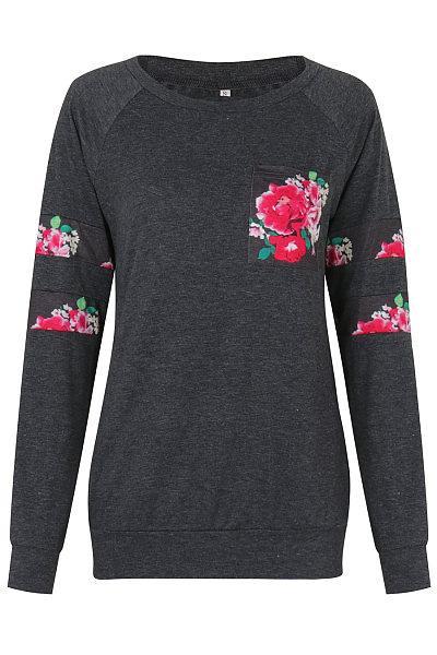 Floral Printed Patch Pocket Raglan Sleeve T-Shirt