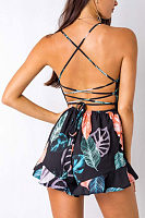 Spaghetti Strap  Backless Cross Straps  Floral Printed  Sleeveless  Playsuits