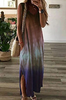 Gradient V Neck Sleeveless Maxi Dress