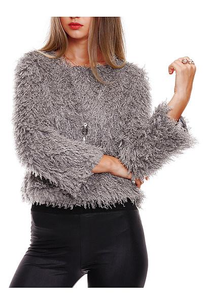 Warm Round Neck Plain Faux Fur Sweater
