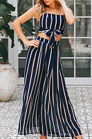 Backless  Striped Two-Piece Outfits