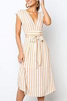 Deep V Neck  Belt  Striped Maxi Dresses