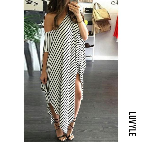 White Round Neck Slit Striped Short Sleeve Maxi Dresses White Round Neck Slit Striped Short Sleeve Maxi Dresses