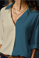 A Lapel Long Sleeve Color Block Blouse