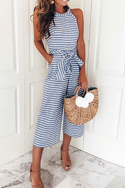 Striped Vacation Sleeveless Casual Jumpsuit
