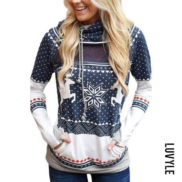Blue Christmas Hooded Drawstring Print Hoodies & Sweatshirts Blue Christmas Hooded Drawstring Print Hoodies & Sweatshirts