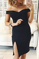 Open Shoulder  Side Slit  Plain Bodycon Dresses