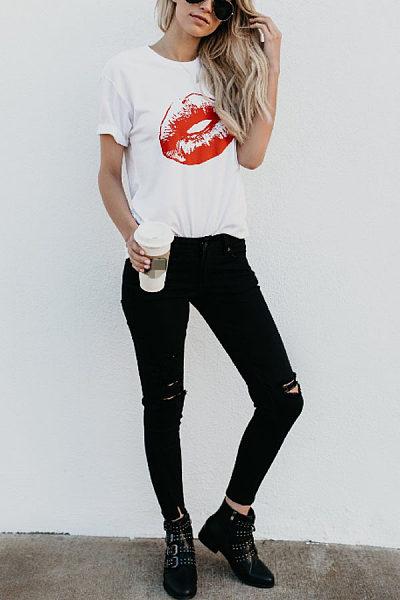 Round Neck Lips Printed T-Shirts