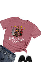 Casual Christmas Round Neck Short Sleeve Printed T-shirt